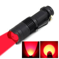 3W Zoom Red Light LED Flashlight Astronomy Night Vision AA Battery Red Torch