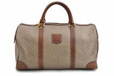 Authentic CELINE Macadam Pattern Boston Bag PVC Leather Beige Brown 83532