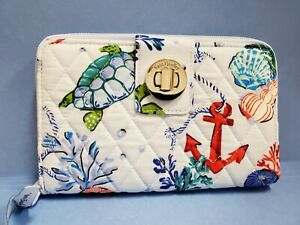 NWT Vera Bradley ANCHORS AWEIGH Blue RFID Turnlock Zip-Around Clutch Wallet