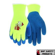 Mcr Safety Nxg Hi Vis Insulated Winter Work Gloves Latex Dipped Palm Blueyellow