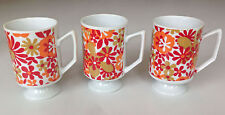 3 Vintage Royal Crown Mugs/Cups Floral Star By Kitty 2380
