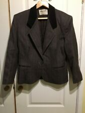 JAEGER SIZE 12 WOOL BROWN BUTTONED SUIT JACKET