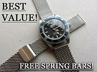18MM SHARK MESH STAINLESS STEEL BRACELET DIVERS WATCH STRAP ORIS SEIKO VINTAGE