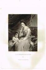 "Mezzotint Eng. Proof - ""LADY BORINGDON & SON"" - by Sir Joshua Reynolds - c1820"