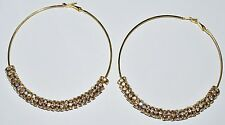 Rhinestone Hoop Gold Earrings Basketball Wives 3.5'' with 8mm Rondelles - E33