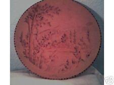 Unique decorative wooden 9 inch plate - signed