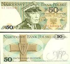 POLOGNE billet neuf  50 ZLOTYCH Pick142c  portrait K.SWIERCZEWSKI GRUNWALD  1988
