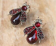 Antique Victorian Earrings Garnet Fly Flies Bug Insect Jewelry Jewellery Old