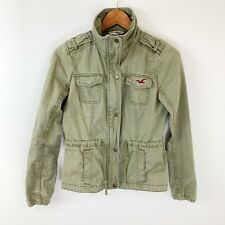 Hollister Womens Utility Jacket Size Small Military Olive Green Drawstring Waist