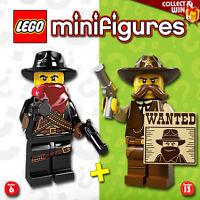 LEGO Minifigures #8827, #71008 - Series 6,13 - Sherif + Bandit - 100% NEUF / NEW