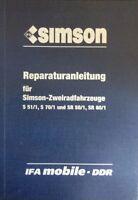 Reparaturanleitung SIMSON S 51 70 SR 50 80 IFA reperatur werkstattbuch DDR stil