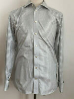 ETON Contemporary Striped Long Sleeve Button Front French Cuff Dress Shirt 16