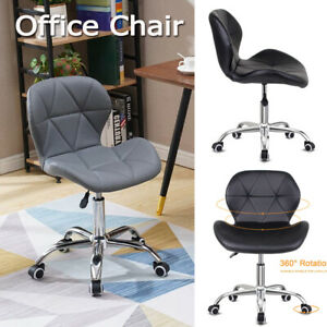 PU Cushioned Computer Desk Home Office Chair Legs Lift Swivel Adjustable Small