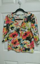 TO Thomas & Olivia Sz S 3/4 Sleeve Snap Front Front Colorful Top Cotton Cardigan