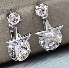 Plata esterlina CZ Estrella Gota Colgante Aretes. 8MM
