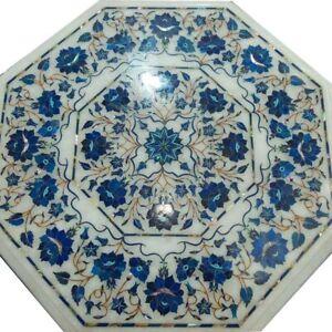 "21"" white coffee Table Top Pietra Dura Inlay Lapis Handmade Work art Home Decor"