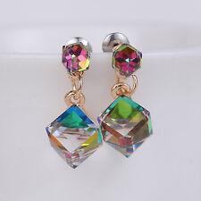 Rainbowstone Colorful Gold Zircon Cube Drop Dangle Earrings Jewelry Wedding Gift