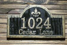 Address Sign Fleur De Lis Wood Custom Carved Antique Brass Finished