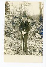 WWI Solder in Snowy Woods RPPC Sword Uniform Antique Military AZO 1910s