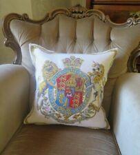 BRITISH VICTORIAN ROYAL COAT OF ARMS HERALDIC LION & UNICORN CUSHION COVER