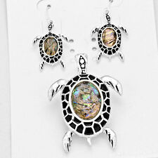 Turtle Pendant Earrings SET Sea Turtle SILVER ABALONE SHELL Beach Surf Jewelry
