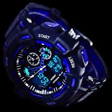 Akzent Analog Digital Herren Armband Uhr Blaue Ziffern-Beleuchtung  Blau Schwarz