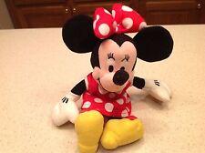 "Stuffed Plush Minnie Mouse Big Bow Dangle Toy Animal All Soft 10"" Tall Nice!"