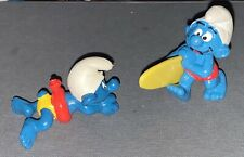 1980's Vintage SMURFS Smurf Swimming Tube & Surfer Figures Rare Very Hard 2 Find