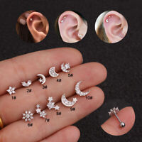 1Pc Moon Star Flower 925 Silver Ear Stud Cartilage Helix Tragus Piercing Earring