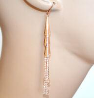 ORECCHINI ORO ROSA donna pendenti lunghi fili strass cristalli eleganti BB80