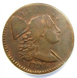 1794 Liberty Cap Large Cent 1C Coin - Certified ANACS VG10 Details - Rare Coin!