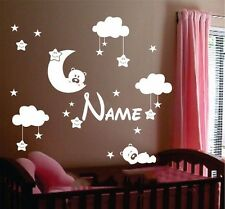 MOON and CLOUD wall sticker Personalised any name boys STARS AFC4 DECAL DECOR