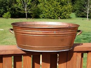 Vintage Smith and Hawken Large Copper Planter Beverage Tub