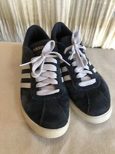 adidas Women's Blue/White Suede Neo Court Set Lace Up Sneakers Sz 6.5