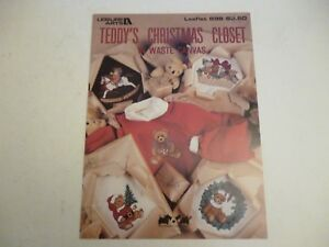 Leisure Arts Teddy's Christmas Closet In Waste Canvas Cross stitch Leaflet 898