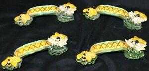 4 Elaine Voghelle Silvestri Cabinet/Draw Handle Pull Honey Bee Flower Corn Resin
