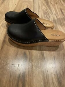 Clarks Elements Clog Shoes Wedge Heel Womens Size 7.5 Leather Upper