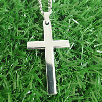 Gift Unisex's Men Stainless Steel Cross Pendant Silver Necklace Simple Elegant
