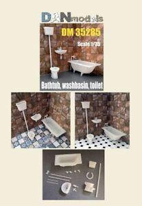 Dan Models 35285 - 1/35 - Bathtub and washbasin, toilet model, material - resin