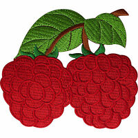 Raspberry Patch Embroidered Iron Sew On Clothes Fruit Badge Embroidery Applique