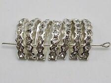 40 Silver Clear Crystal Rhinestone Half Moon 3-Hole Bridge Spacer Beads
