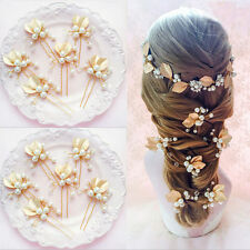 1xBridal Crystal Rhinestone Pearl Hairpin Leaves Hair Clips Comb Wedding Jewelry