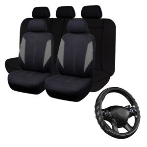 Car Seat Covers Set Universal Auto Steering Wheel Cover Leather Non-Slip Massage