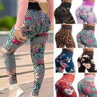 Womens High Waist Sports Yoga Pants Printed Leggings Workout Fitness Stretch Gym