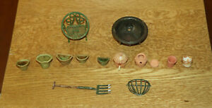 Dolls' House Miniatures - Mixed lot garden items incl. pots by Clive Brooker
