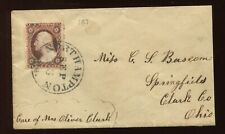 25 Washington Used Stamp on Nice Small Cover (Stock 25 Cover 1)