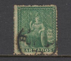 Barbados SG 20 used. 1861 ½p deep green Britannia, perf 14¼, unlisted in Scott