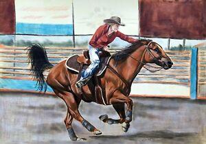 "COWGIRL horse western realism 11""x14"" original drawing on paper by ArtKaska"