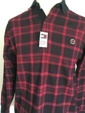 TOMMY HILFIGER LUMBERJACK HENLEY NEW WITH TAGS ~ Red/Black Plaid ~ L ~ Hip-Hop
