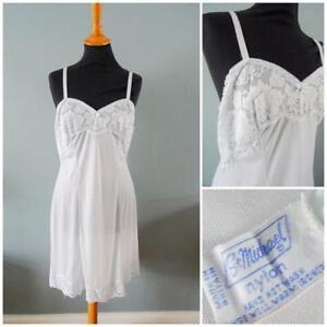 "Vintage Full Slip Petticoat 1960s St Michael Ivory Nylon Lace Ladies 38"" Bust"